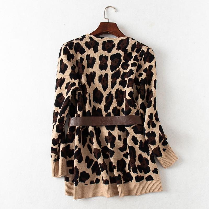 Shuchan Leopard Long Cardigan Autumn Winter V-Neck Fashion Blend Open Stitch Streetwear  Knit Long Sweaters Women enlarge