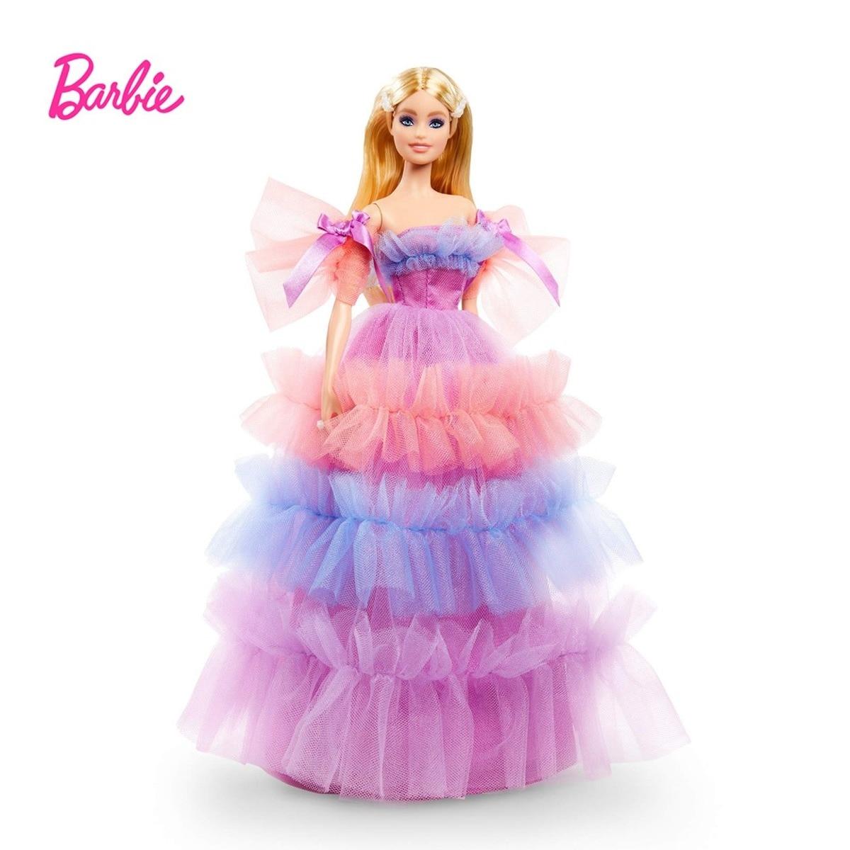 Muñeca de cumpleaños de Barbie con pelo rubio, vestido con volantes, edición...