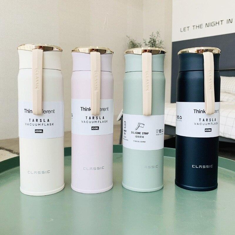 310/450ml nueva botella termo Simple de acero inoxidable hombres mujeres botella de vacío de deportes al aire libre Busniess Oficina botella de agua
