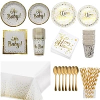 gold disposable tableware oh baby birthday paper plates cups napkins birthday party cutlery baby shower gender reveal supplies