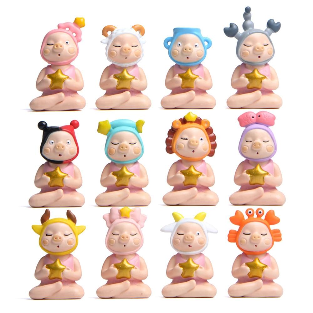 12pcs / Lot Jenny Pig Series Constellation Modeling Hand-made Cartoon Landscape Doll Desktop Ornaments