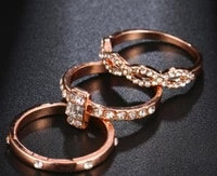 womens jewelry jewelry inlaid zircon ring simple and versatile three piece jewelry