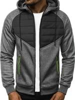 2021 spring men padded print warm zipper hoodies jackets male splice color sport man coat
