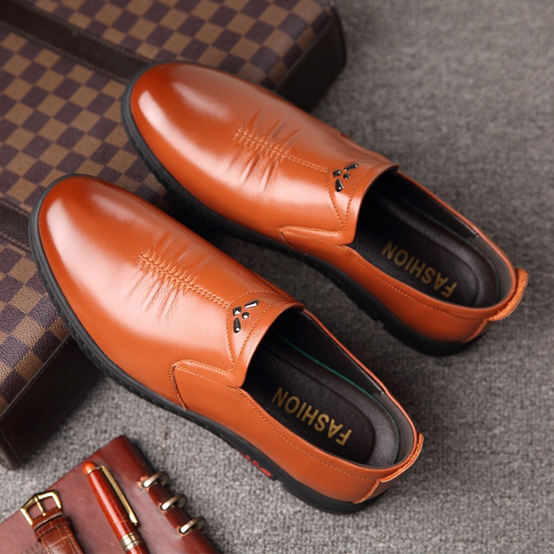 New Soft Men's Genuine Leather Shoes Casual Business Size 38-44 Black Slip-on Man Genuine Leather Dr
