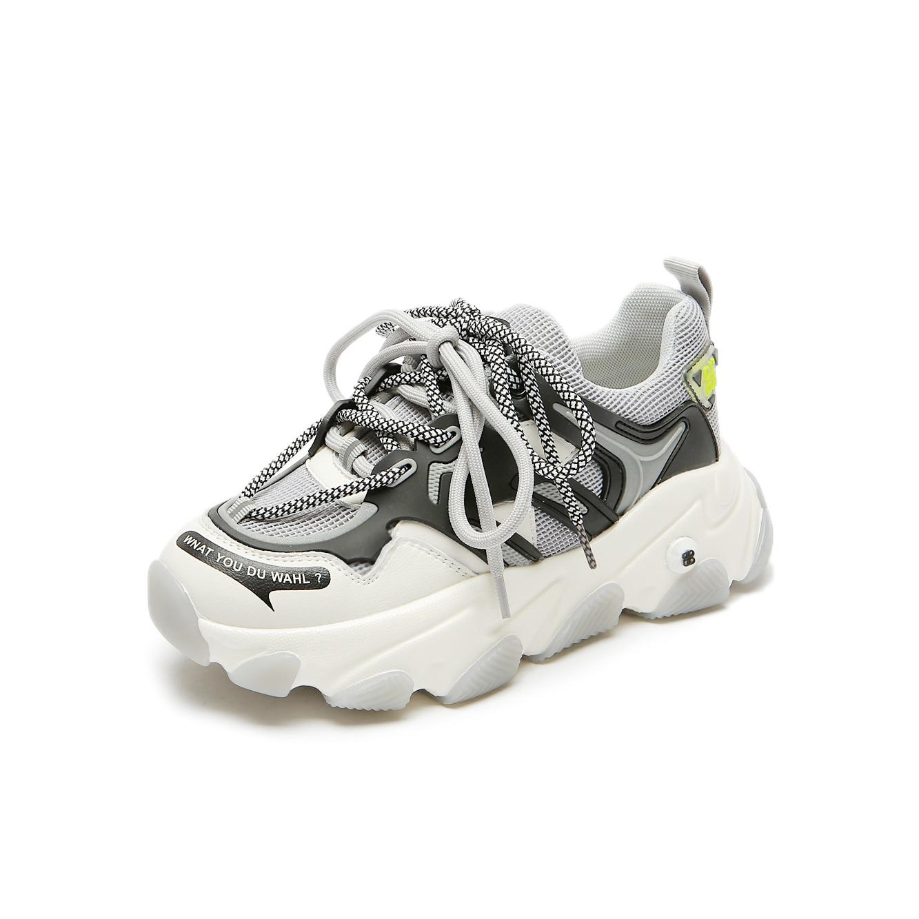 Zapatos deportivos de mujer de cuero natural + malla rainbow daddy shoes ins muffins de fondo grueso 5 colores zapatos para correr opcionales