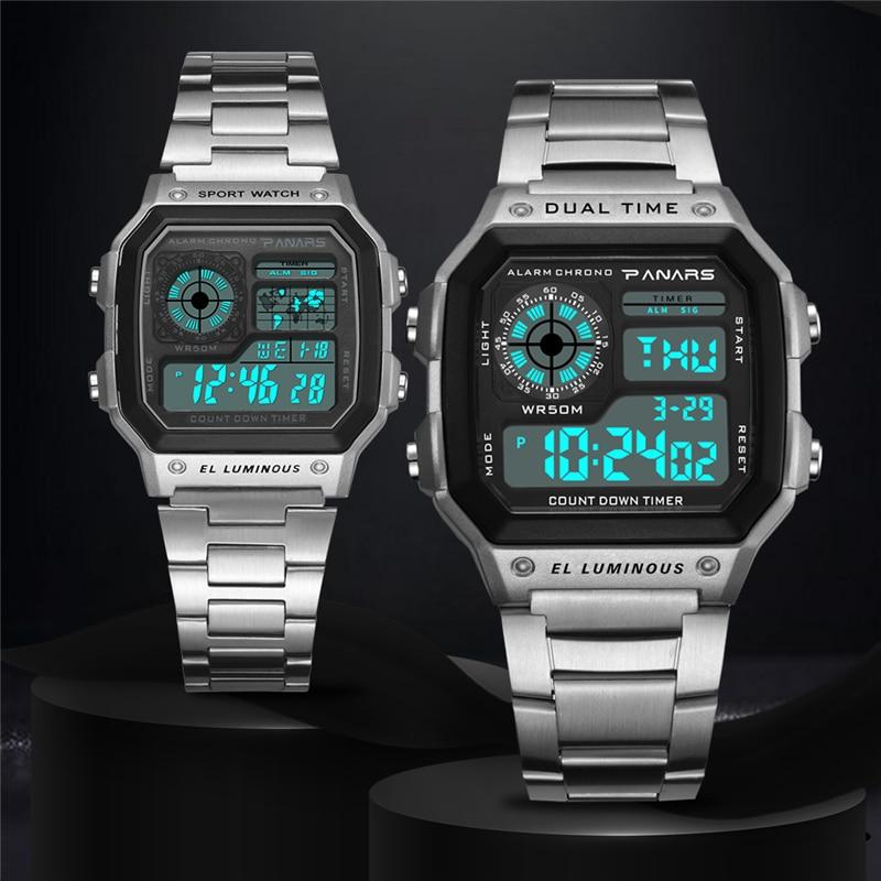 2021 Ladies Watch Women's Sports Digital Watches Chronograph Waterproof Stainless Steel Wristwatch Female Clock Relogio Feminino enlarge