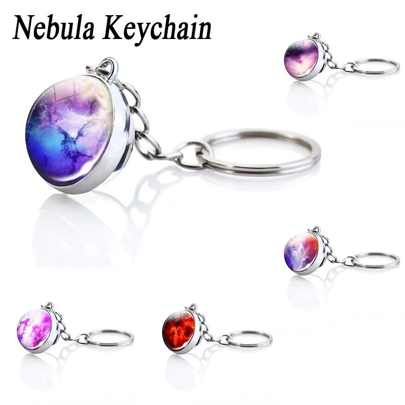 Starry Sky Glass Ball Keychain Five Colors Optional Fantasy Nebula Key Ring Pendant Birthday Gift for Girlfriend