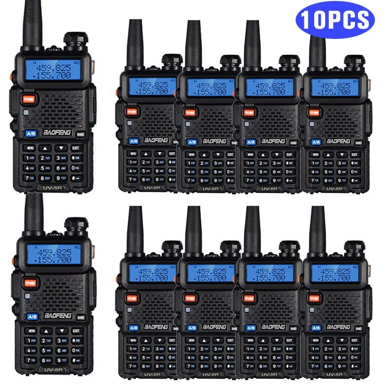 10PCS/Set Real 8W Baofeng UV 5R Walkie Talkie UV5R Dual Band FM Transceiver UV-5R Amateur Hunting Ham Radio Transmitter Intercom