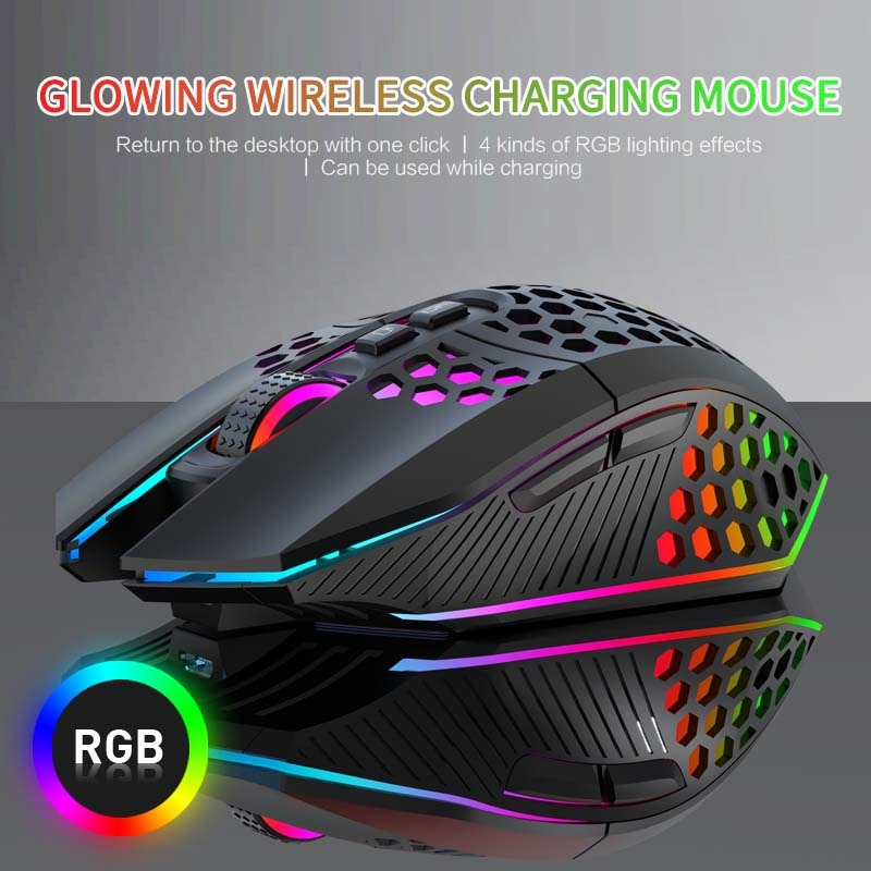 X801 Wireless Gaming Mouse Honeycomb Hollow Ergonomically Designed USB 10m Wireless Transmission Professional RGB Mouse Gamer