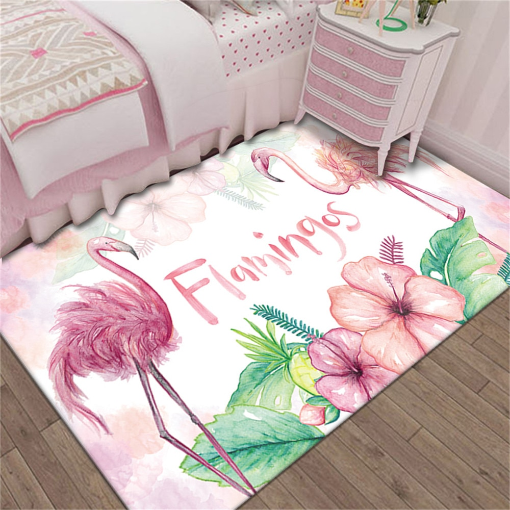 Flamingo Girls Bedroom Area Rug Cartoon Children Play Mat Bedside Mat Doormat Home Decor Corridor Rug Large Living Room Carpet