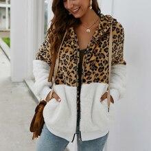 Kadın kış ceket üst uzun kollu kapşonlu sonbahar sıcak ceket dış giyim rahat moda leopar Tops ceket sıcak satış boyutu S-XL