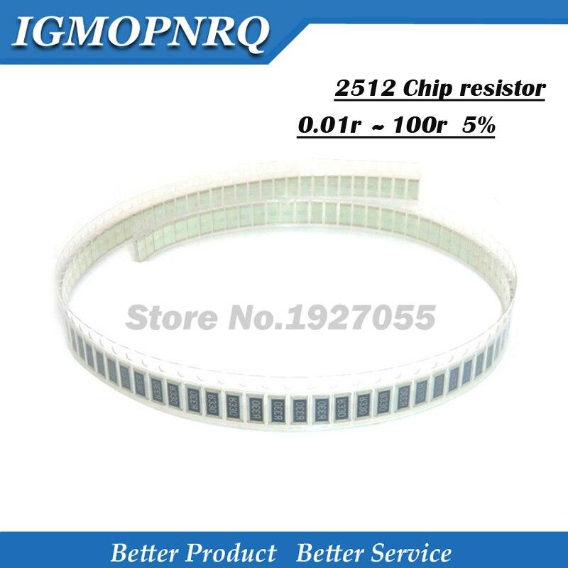 50Pcs 2512 Patch fixed resisto 5% 0.01r  0.05r 0.1r 0.33r 0.5r 0R 1K 10R 100R 2512-1R  SMD fixed resistor new
