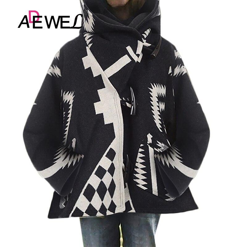 ADEWEL-chaqueta con capucha de manga larga para Mujer, abrigo de lana con...