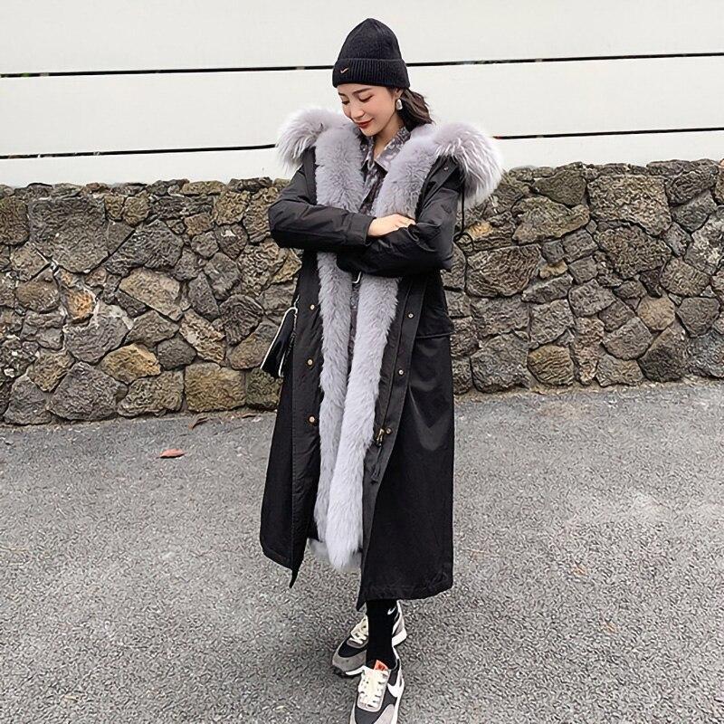 وصل حديثًا معاطف نسائية طويلة من الفرو الحقيقي موضة 2021 معطف سميك دافئ من الفرو الراكون بتصميم باركر للسيدات XM3601
