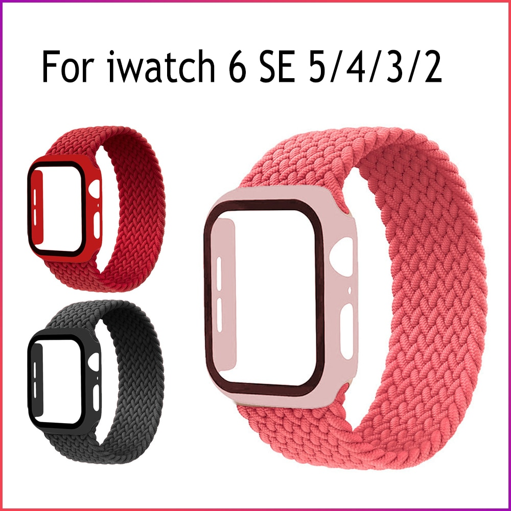 1 1 offical strap for apple watch series 6 5 se 4 braided solo loop 40mm 44mm woven watchbands for iwatch 3 2 1 38mm 42mm strap Braided Solo Loop Band For Apple Watch strap 44mm 40mm 42mm 38mm Elastic Nylon bracelet+PC Case iWatch series 6 5 4 3 se strap