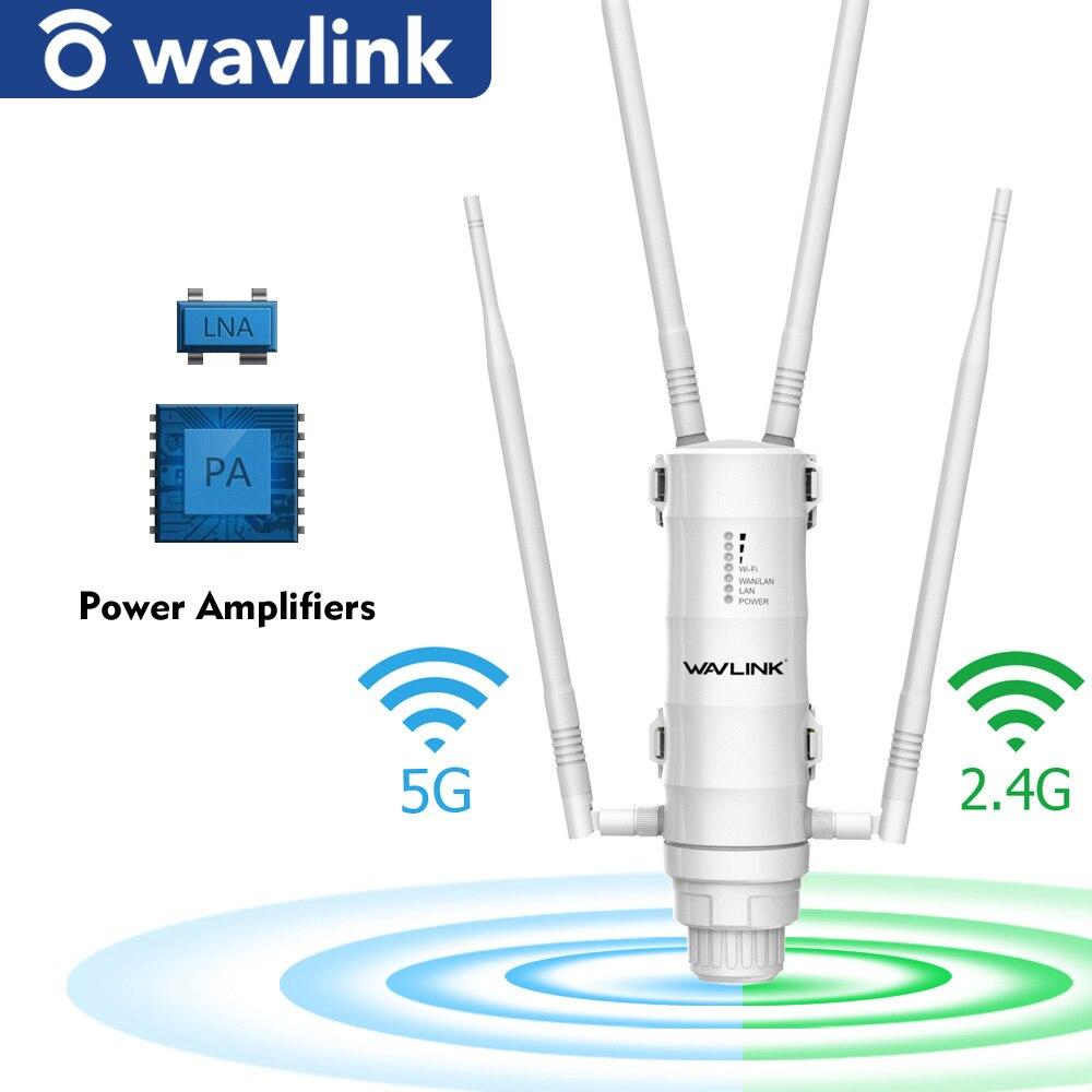 Уличный Wi-Fi расширитель диапазона Wavlink, беспроводная точка доступа, двухдиапазонный 2,4G + 5 ГГц, мощный Wi-Fi-роутер/ретранслятор, усилитель сигн...