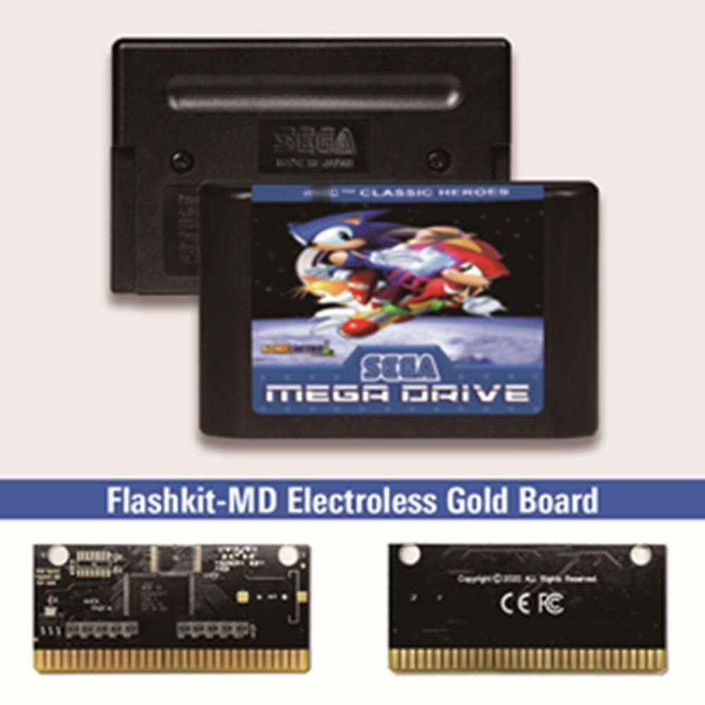 Soniced-Tarjeta PCB de oro sin electrodo para Sega Genesis Megadrive, kit de...