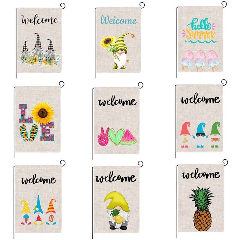 Welcome Garden Flag with Lovely Patterns Seasonal Decorative Flag for Yard/Patio/Lawn (47*32cm)