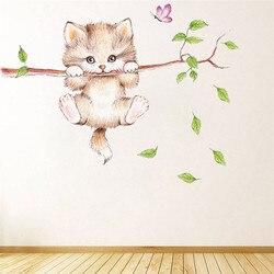 3d vívido gato cão interruptor decalques de parede para crianças quartos sala estar decoração para casa animais adesivos parede diy mural arte