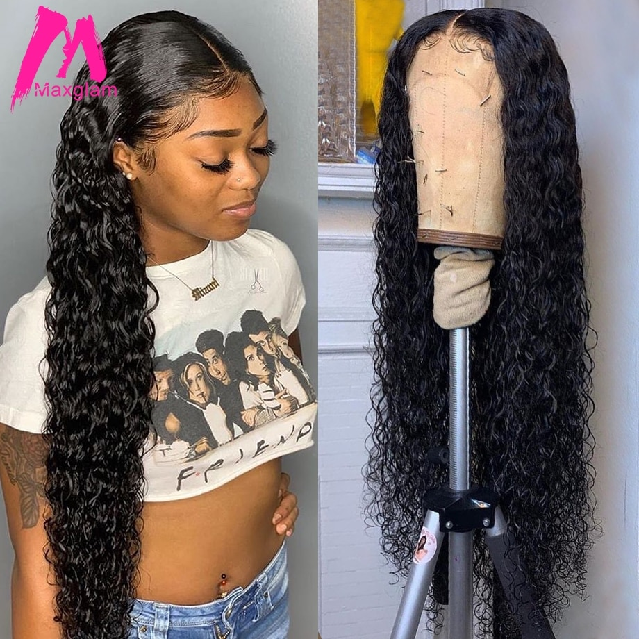 Deep Wave Frontal Wig Curly Human Hair Wigs Brazilian Natural 13x4 Remy 30 Inch Water Wave Lace Front Wig For Women Pre Plucked