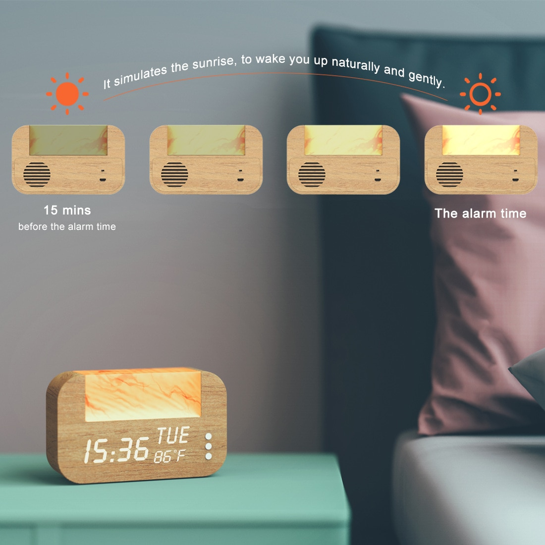 Wake-Up Light with Himalayan Salt  Alarm Clock with Real Sunrise Simulation, Himalayan Natural Salt Lamp Sleep Aid Holiday Gift enlarge
