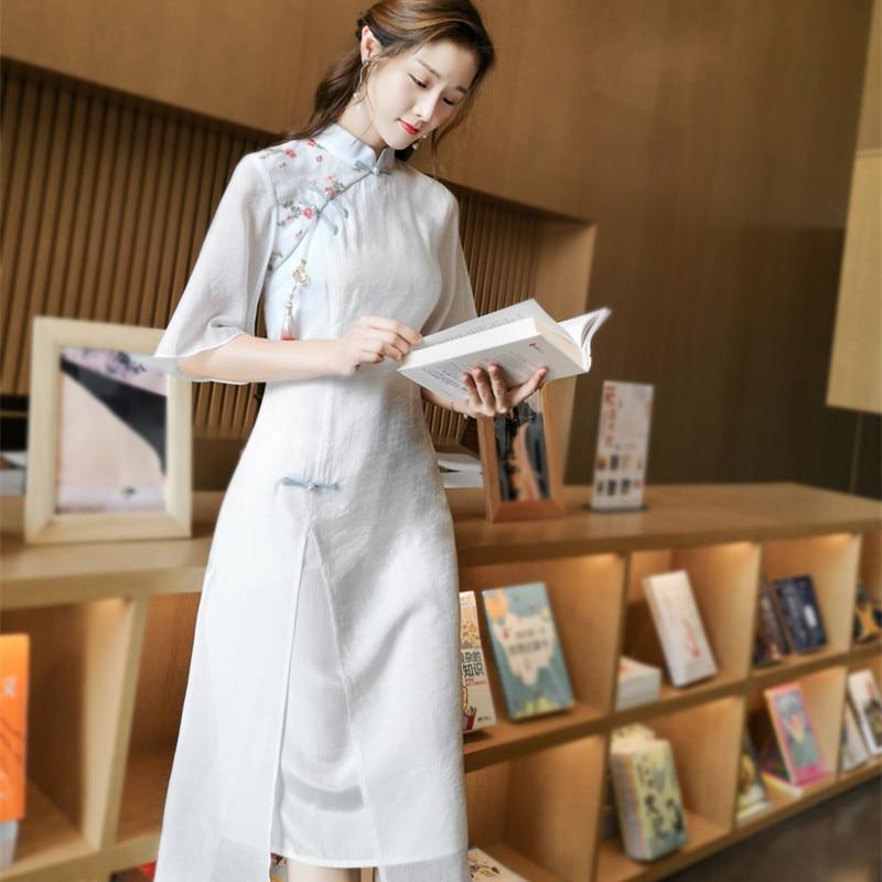 Новинка весна-лето 2021 в китайском стиле ретро маленькое платье-Ципао из тенсела хлопчатобумажное чайное платье Улучшенная версия ханьфу же...
