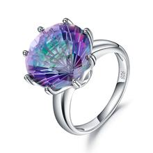 GEMS BALLET classique rond coloré anneaux naturel arc-en-ciel mystique Quartz anneau 925 en argent Sterling bijoux fins pour les femmes de mariage