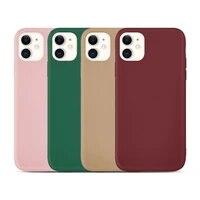 solid color matte pink soft phone case for iphone 11 11pro 11promax 6 6s 7 8 7plus 8plus x xs xr xsmax se 2020 case iphone