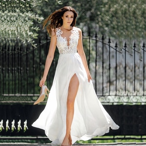 On Sale Summer Beach Sleeveless Bridal Wedding Dresses Lace Jewel Neck High Side Slit Wedding Gowns for Bride Illusion Back 2021