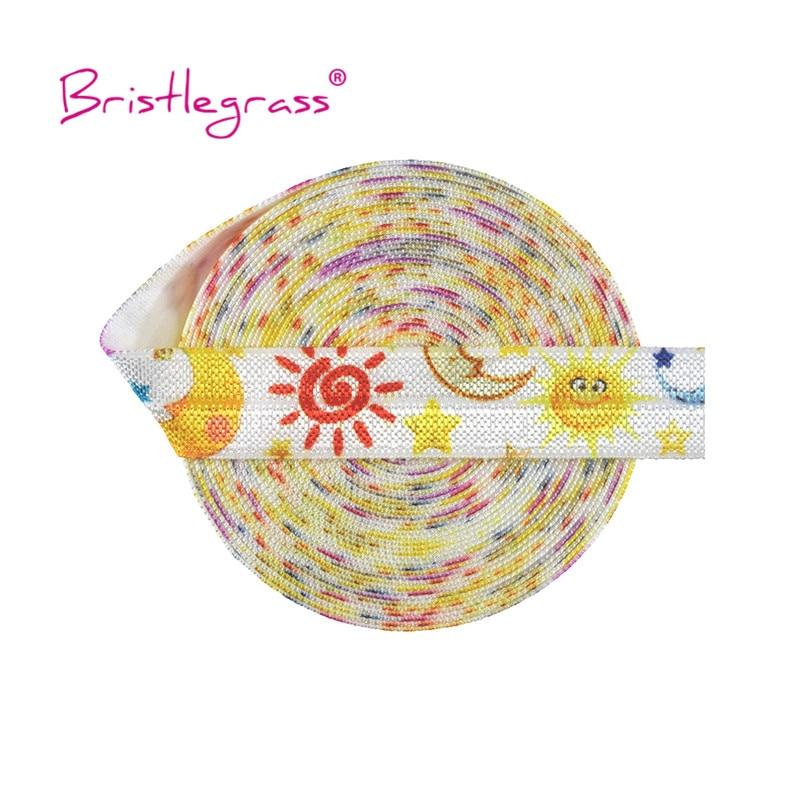 "BRISTLEGRASS 100 yardas por rollo 5/8 ""15mm sol dibujo estrella lunar doblar sobre elasticos FOE Spandex banda de satén pelo Tie Dress costura Trim"