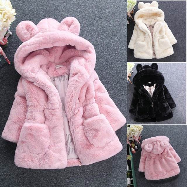 2018 New Winter Baby Girls Clothes Faux Fur Coat Fleece Show Jacket Warm Snowsuit 1-7Y Baby Hooded J