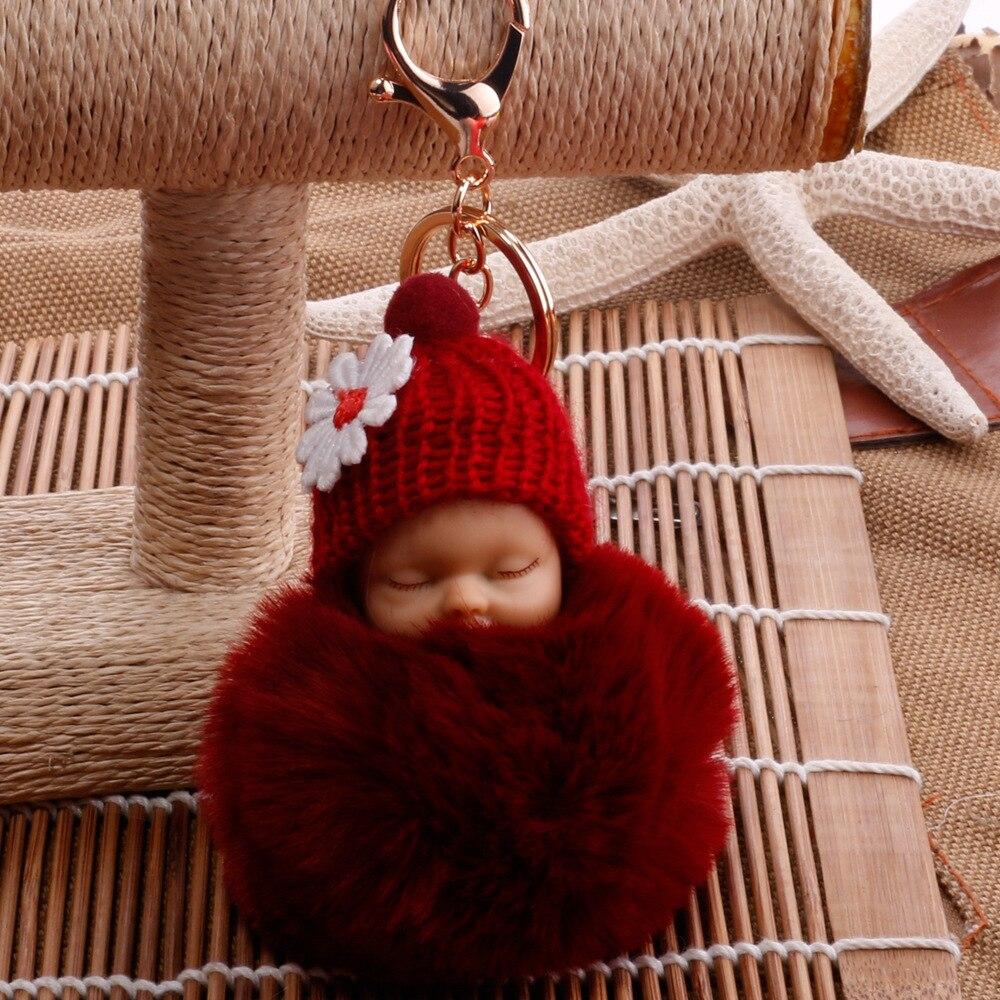 Llaveros de muñeca de bebé lindo dormido para mujeres bolso llavero de juguete mullido Pom pompón piel sintética llaveros de felpa
