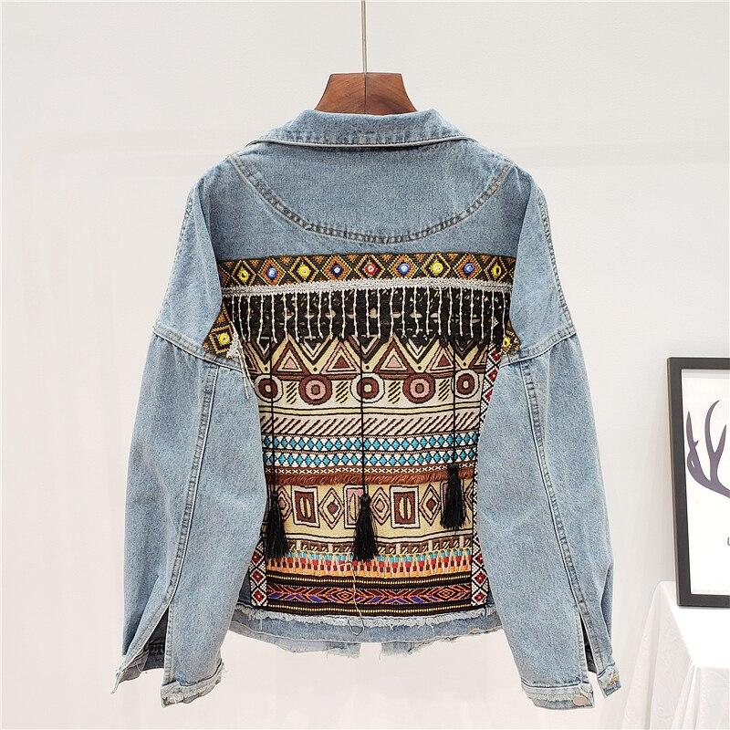 Vintage denim jaqueta 2020 outono único-breasted manga comprida apliques bordados borla solto jeans jaqueta feminina outerwear h198