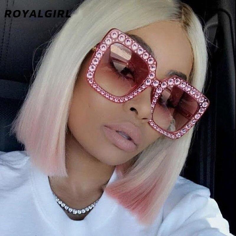 ROYAL GIRL Square Rhinestone Sunglasses Women Brand Designer Oversized Crystal Sun Glasses 2021 Clea