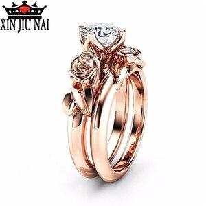 2 шт./компл., модный ретро дизайн, розовое золото/свадьба, Инкрустированный белый топ, AAA циркон, CZ, дамский набор колец, вечерние, Подарок на го...