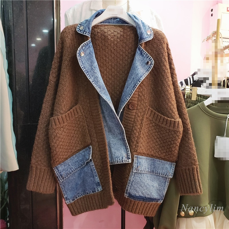 Fashion Brand Cardigan Women Denim Patch Loose Sweater Coat 2021 Autumn Gray Knitted Top Chaqueta Mujer enlarge