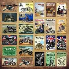 Póster de Metal para motocicleta Racer Norton para Pub, coche, Club, Bar, garaje, tienda, decoración de pared, arte de pared, YI-065 de regalo