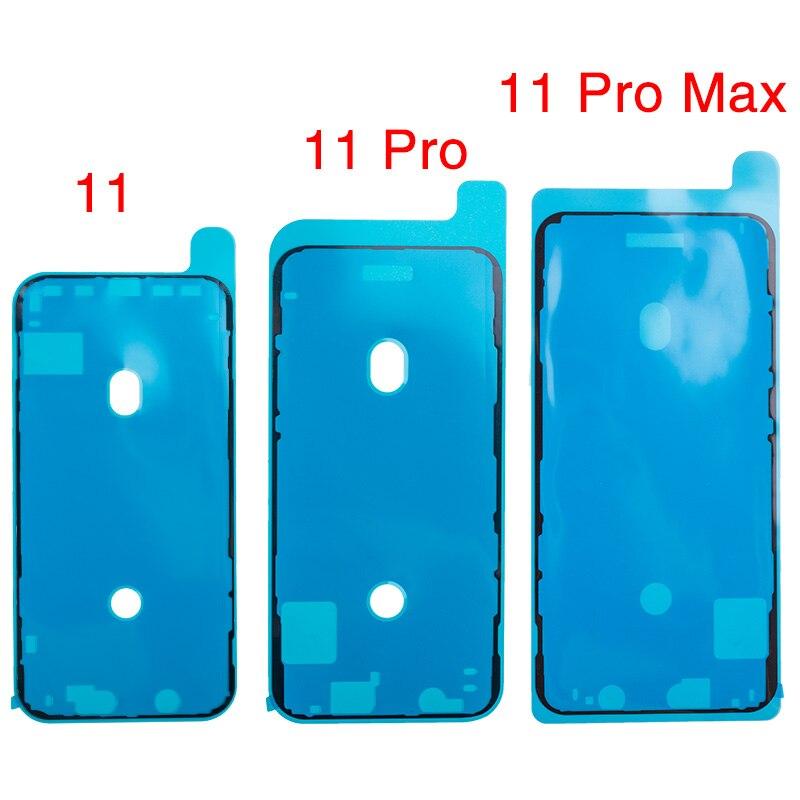 10 unids/lote, pegatina impermeable para iPhone 11 Pro Max, pegamento precortado, pegamento precortado, marco de pantalla LCD, cinta de sellado, pegamento, piezas de reparación