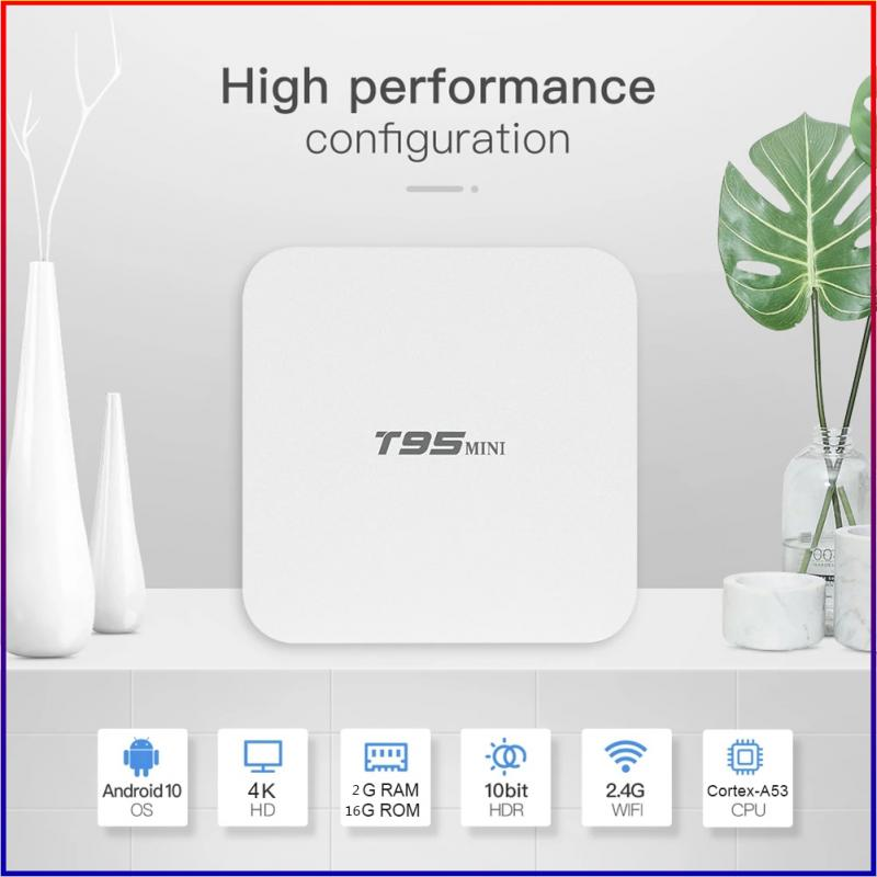 T95 Smart Tv Box Android 10.0 4k Wifi 2.4G 4k Allwinner H313 Quad Core Set-Top Box Mini Smart Media
