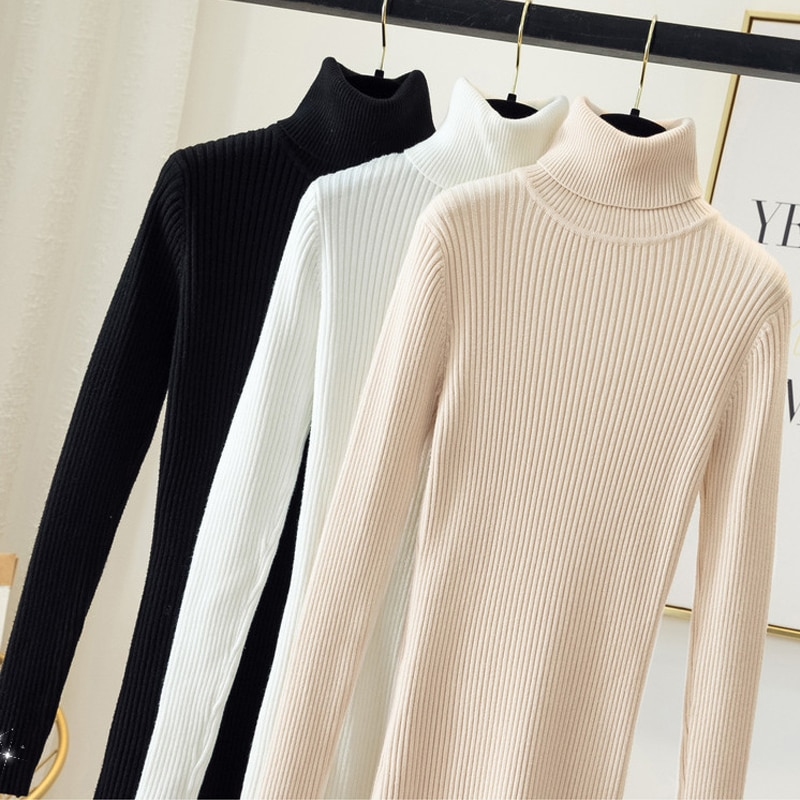 Women's sweaters Autumn Winter Thick Knitted Ribbed Pullover Long Sleeve Turtleneck Slim clothes Jumper Soft Warm Sweater dress super good cashmere cotton warm turtleneck mini sweater dress women winter 2019 long sleeve short dress thick clothes stretch