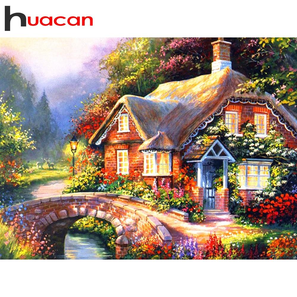 Huacan DIY pintura de diamantes 5D casa llena cuadrada/bordado de diamantes redondos Kits decoraciones de paisaje hogar