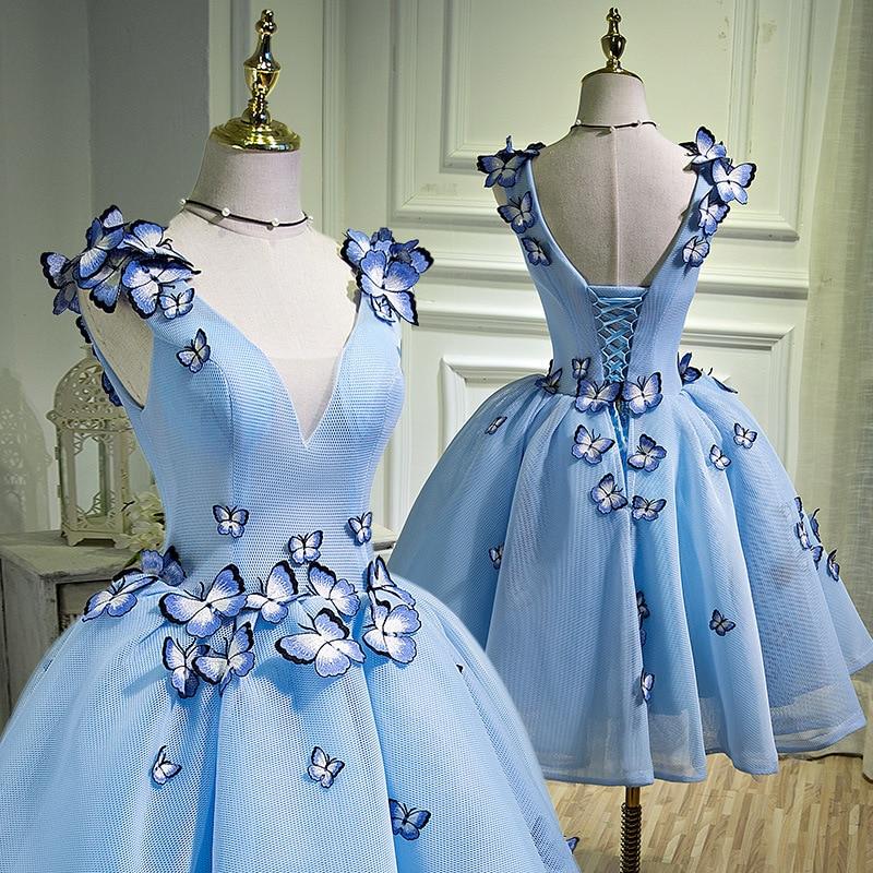 Yeni moda 2020 V boyun mavi kokteyl elbiseleri kelebekler aplike kısa parti balo Vestidos