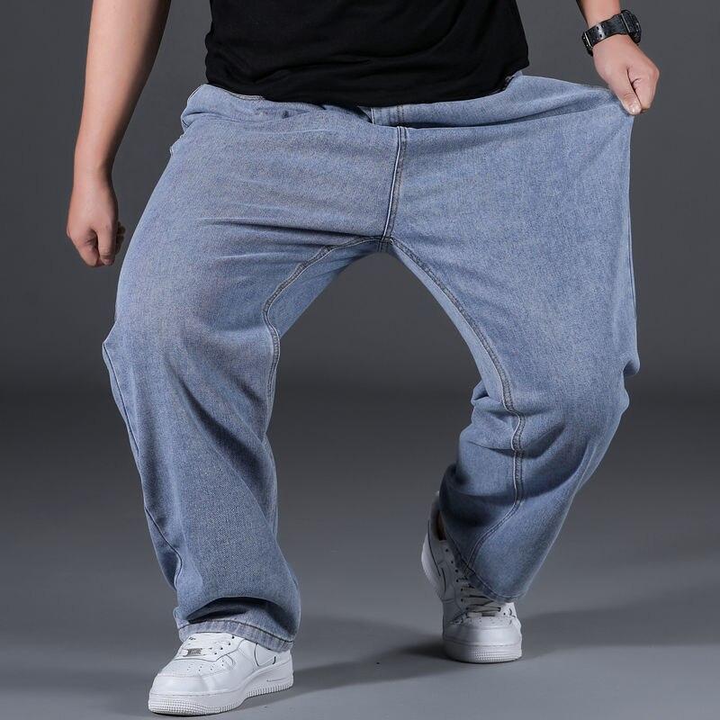 Осенне-зимние джинсы, Мужская свободная прямая Одежда для крупных мужчин, утепленные широкие брюки с плюшевой подкладкой для полных парней