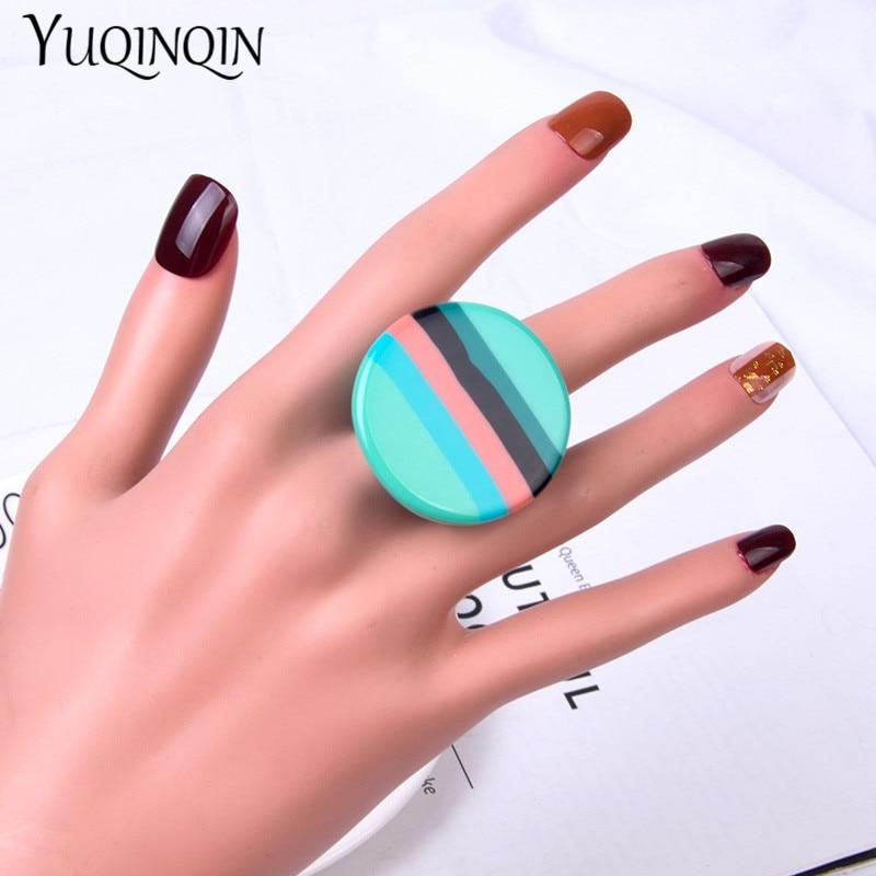 Anillos de resina acrílica de colores a la moda, anillo redondo de dedo grande para mujer, anillo Vintage geométrico Simple para chicas, joyería femenina