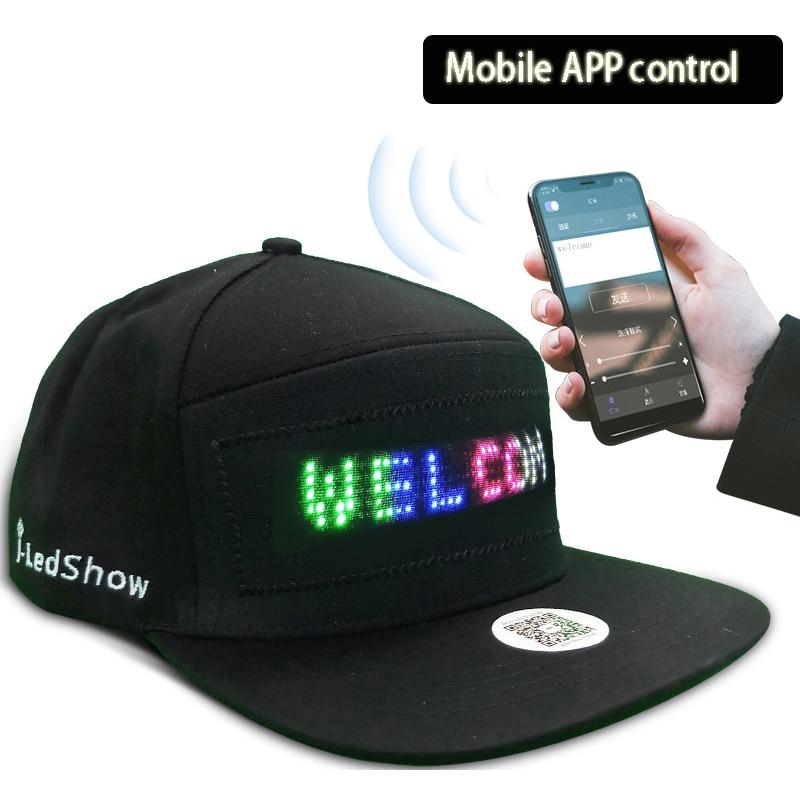 لوحة عرض رسالة متحركة مضيئة ، قبعة هيب هوب LED لحفلات الرقص ، الهاتف الخلوي ، التحكم في التطبيق ، قبعة لامعة ، هدية