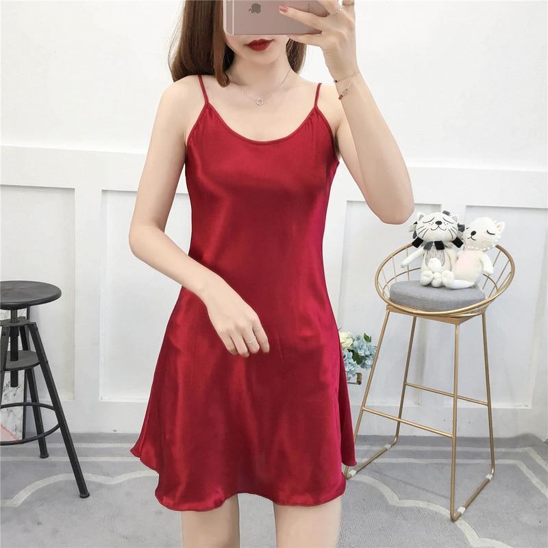 Camisón femenino de satén de talla grande 3XL-5XL, falda roja con tirantes, ropa de dormir Sexy, camisón de verano negligé