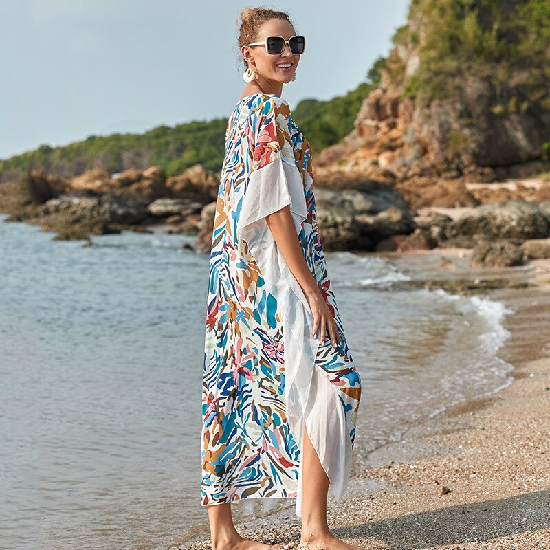 Beach Dress Women Bikini Cover Up Bathing Dress Loose Elegant Lady Beach Swimming Suit Cover Summer Beach Long Dress