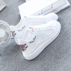 2021 summer new fashion and comfortable white wedge heel shoes women's platform ladies casual shoes breathable mesh sneakers