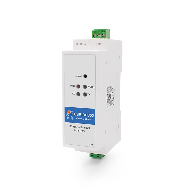 USR-DR302 Din Rail Serial RS485 to Ethernet TCP IP Server Module Ethernet Converter Modbus RTU to Modbus TCP unit