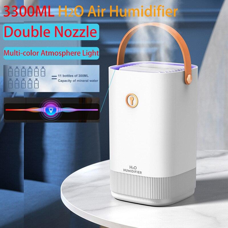 جديد 3300 مللي مرطب هواء مزدوج فوهة ناشر USB رائحة الناشر مع ضوء LED ملون بالموجات فوق الصوتية الروائح مرطب Air Humidifier USB Aroma Diffuser USB Humidifiers Coloful LED Light